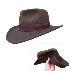THE FALCONER - Brown Crushable Cowboy Fedora Hat (S - XL)