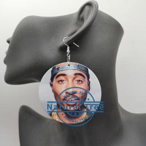 2PAC Tupac Shakur Wooden Earrings