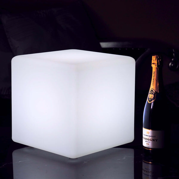 Mains Powered LED Table Lamp, 30cm Cube, White E27 Bulb Installed