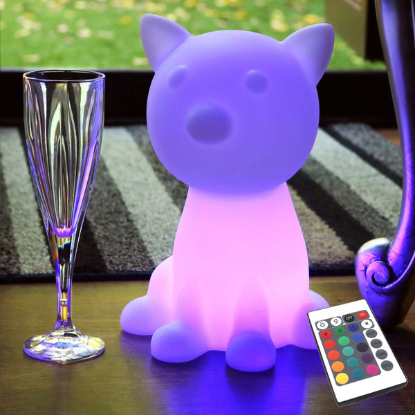 Children's Bedside Lamp, Cordless LED Night Light, RGB Cat 26cm