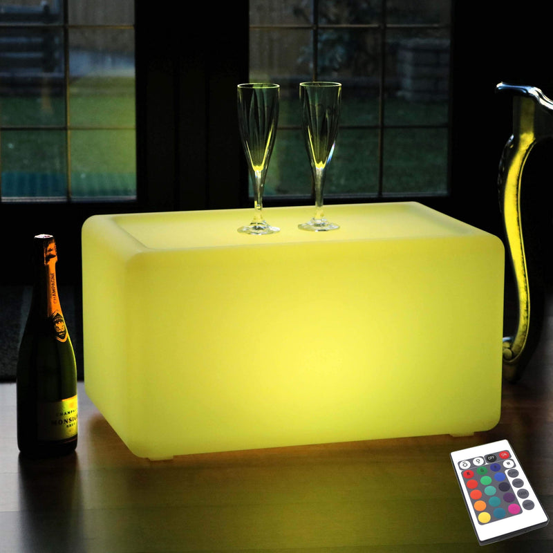 Wireless Illuminated LED Bench Seat Stool, Multi Color Outdoor Mood Light Floor Lamp Furniture