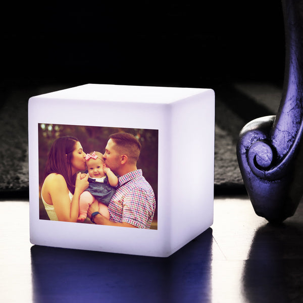 LED Photo Illuminated Light Box, Personalised Gift Lamp, Battery Operated 10cm Cube