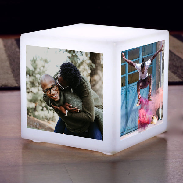 Mini LED Personalised Photo Cube, Customised Gift Display Lightbox Lamp, 10 x 10 cm