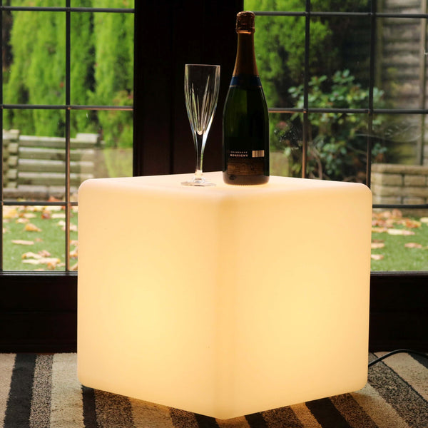 40cm LED Cube Stool, Mains Powered Modern E27 Floor Lamp, Warm White