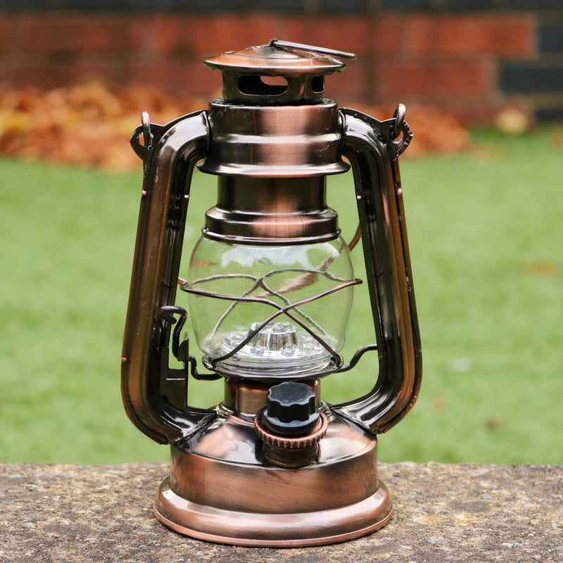 LED Hurricane Lantern Battery Powered, Outdoor Metal Storm Lamp, 19cm