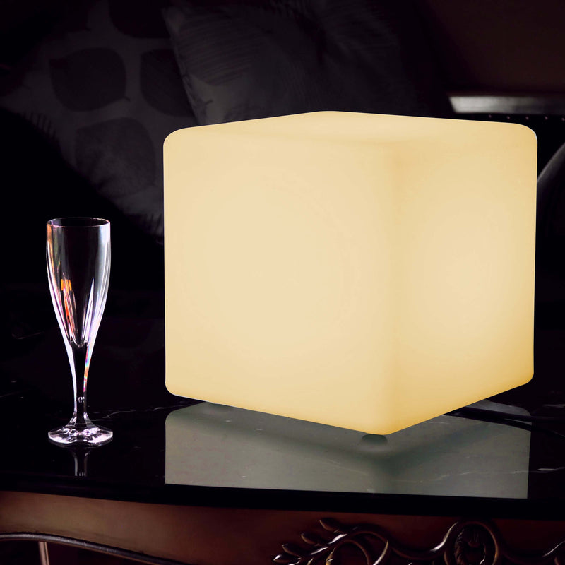 Modern Table Lamp for Lounge Bedroom, 30cm Cube, LED E27 Warm White