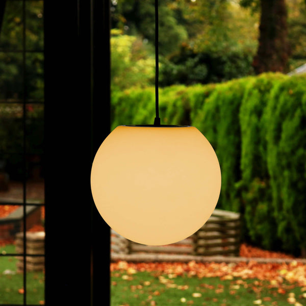 Hanging Lamp, Sphere Pendant E27 Ceiling Light 15cm, Warm White LED