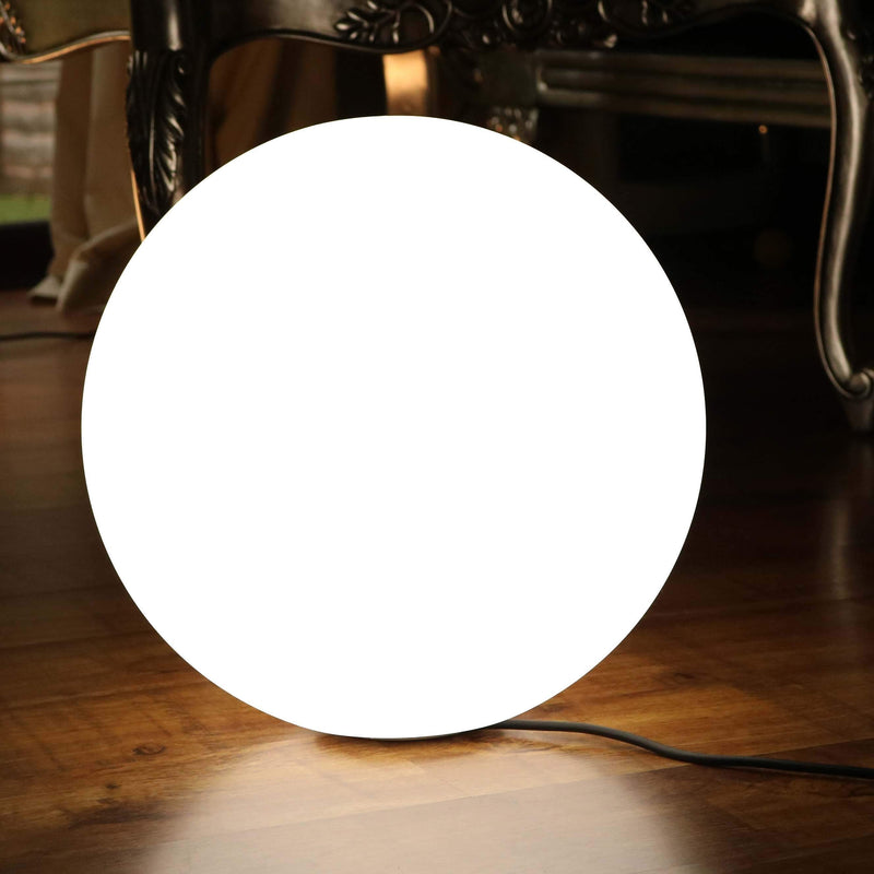 50cm LED Sphere Ball Light, Mains Powered with White E27 Bulb, Modern Orb Floor Lamp