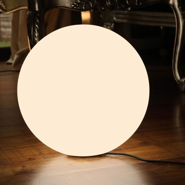 Modern LED Floor Lamp, Warm White E27 Bulb, Large 50cm Illuminated Sphere Ball Globe Light