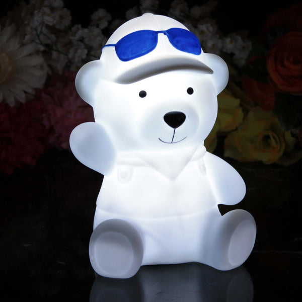 Battery Powered Bedside Lamp for Kids, 19cm LED Teddy Bear Night Light