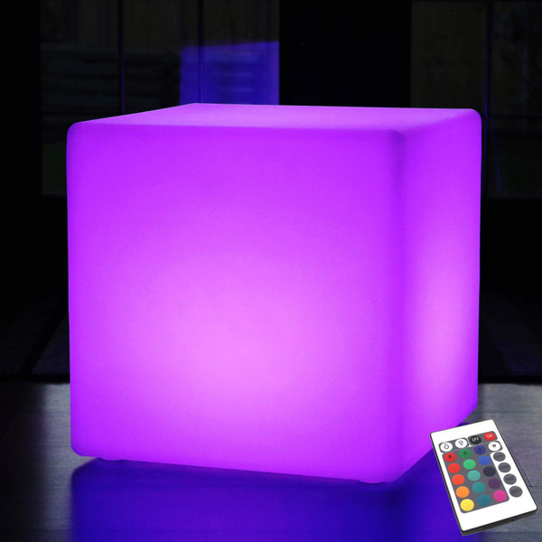 Outdoor LED Cube Seat Stool Table, 50 cm Garden Floor Lamp, Wireless RGB Light with Remote