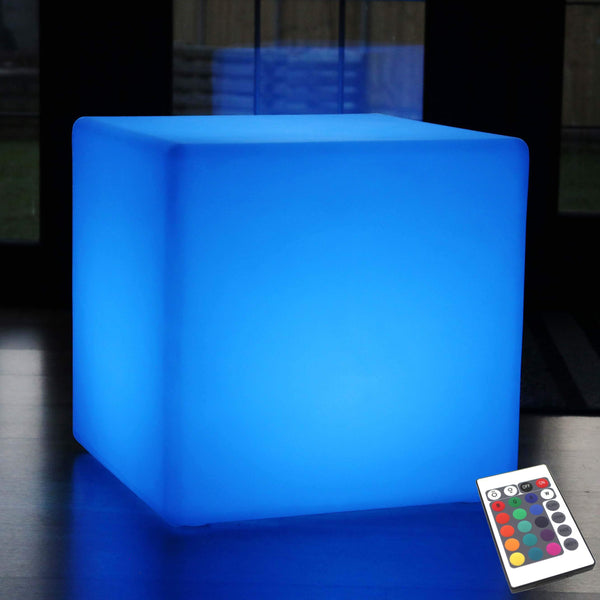 Large Outdoor LED Cube Stool Seat Furniture, 60cm Garden Floor Lamp, Rechargeable RGB Light