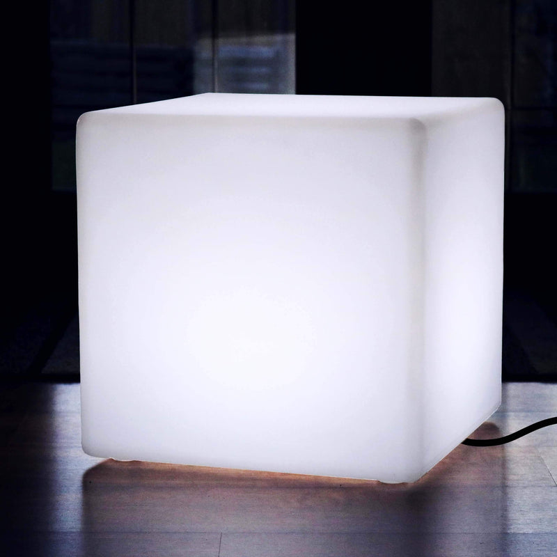 Large 60cm LED Cube Stool Seat, Geometric Floor Lamp, Mains Powered, White E27 Bulb Fitted