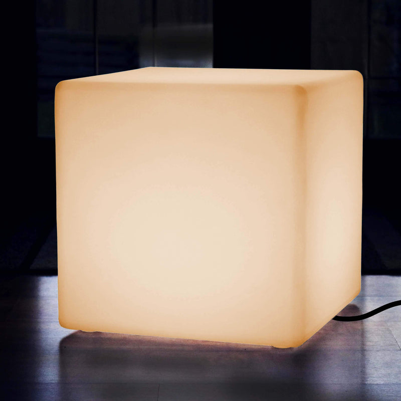 Large LED Seat Stool Cube, Mains Operated 60cm Floor Lamp, Illuminated Furniture, Warm White E27