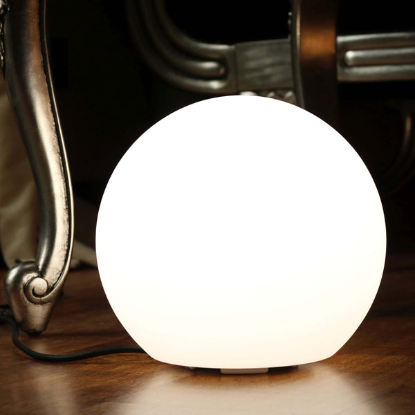 LED Bedside Table Lamp, 20cm Sphere Light, Mains Powered, White
