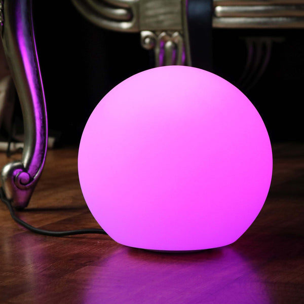 Bedside Lamp, Mains Powered, 20cm Multicolor LED Ball with Remote