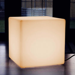 Large LED Cube Stool Seat, Mains Powered 50cm Floor Lamp, Illuminated Furniture, E27 Warm White