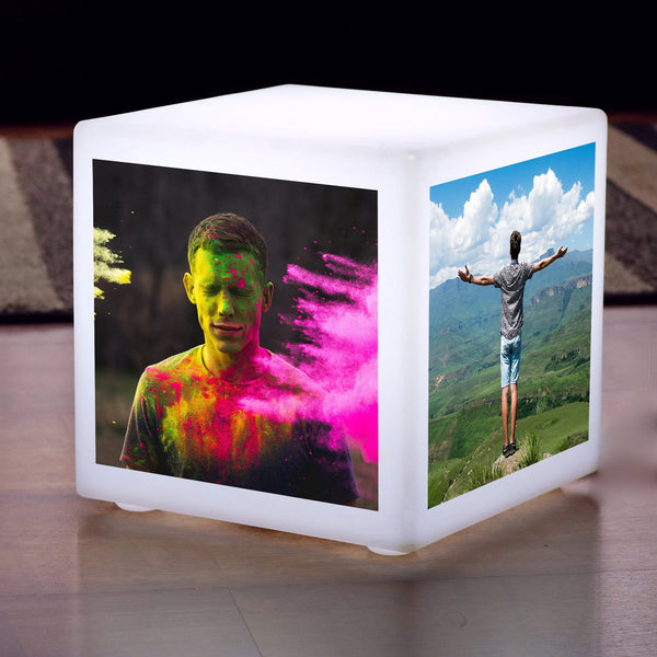 LED Photo Lightbox Cube, Personalised Illuminated Gift, E27 Table Lamp, 20 x 20 cm