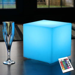 Light Up LED Cube 20cm, Cordless RGB Table Lamp with Remote