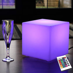 LED Bedside Lamp, Mains Powered, Multicolor RGB Cube, 20 x 20 cm