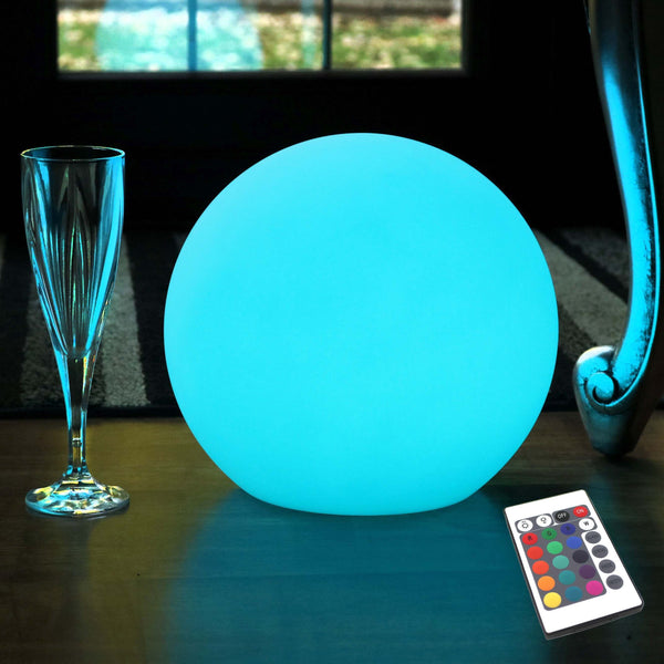 Round Cordless Bedside Lamp, Multicolor LED Ambient Mood Light, 20cm