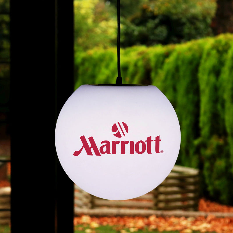 Illuminated LED Hanging Lightbox, Personalised Custom Printed E27 Ceiling Lamp with Logo, Ball