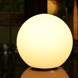 Modern Round Bedside Table Lamp, 20cm Ball, Warm White LED Light