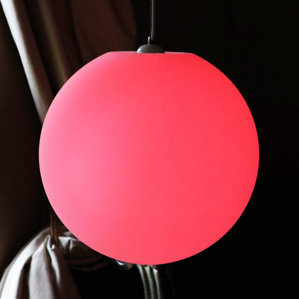 Large Multicolor Circular Pendant Ceiling Light, 60cm LED Sphere Ball Hanging Lamp, RGB Remote