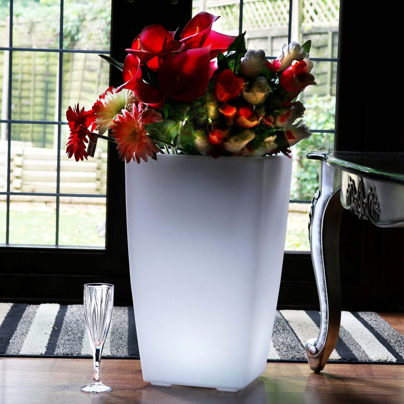 Illuminated LED Floor Vase, Outdoor Garden Planter Pot, 50cm Tall