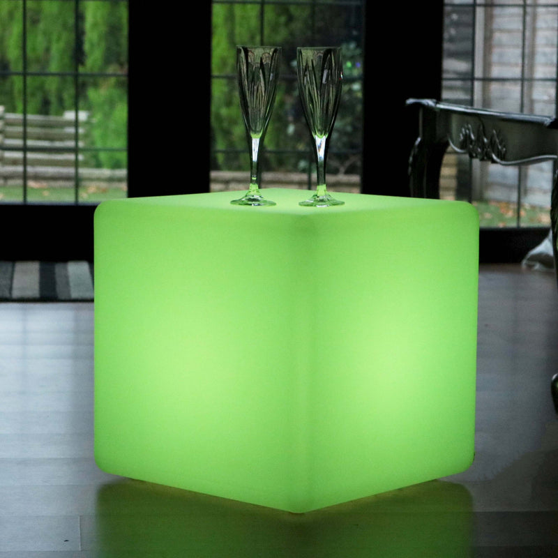 LED Cube 40cm, Luminous Stool Seat, Cordless Floor Lamp Living Room