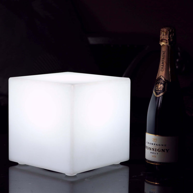 Mains Powered LED Table Lamp, 20cm Cube, White E27 Bulb Installed