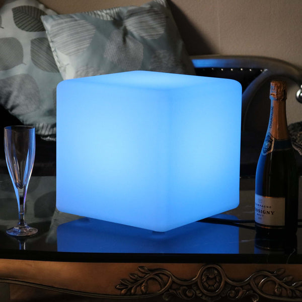 Table Lamp, Mains Powered, LED Cube with Remote, 30 x 30 cm