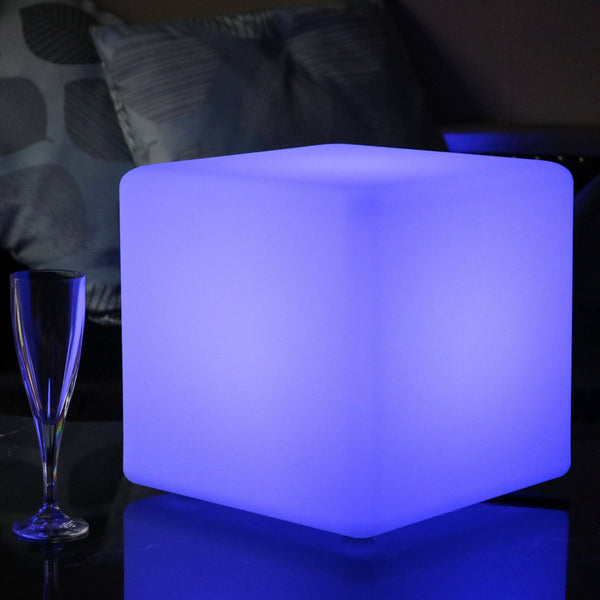 Wireless Table Lamp, Illuminated LED Cube 30cm, Outdoor Garden Light