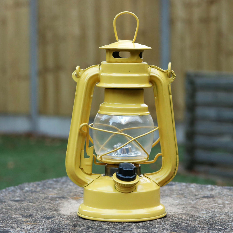 Hurricane Vintage Lantern, Battery Powered, Yellow Outdoor Storm Lamp