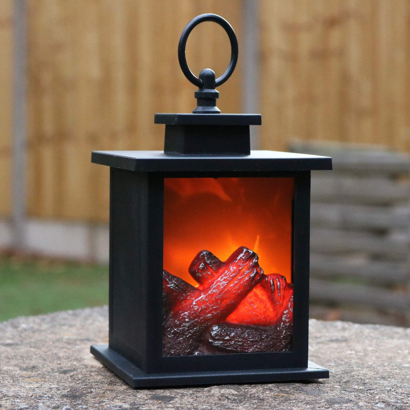Decorative LED Fireplace Lantern with Flame Effect, Battery Powered