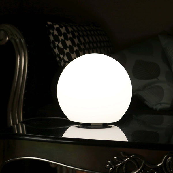 Modern Dimmable Table Lamp, 20cm Mains Powered Sphere Light, White