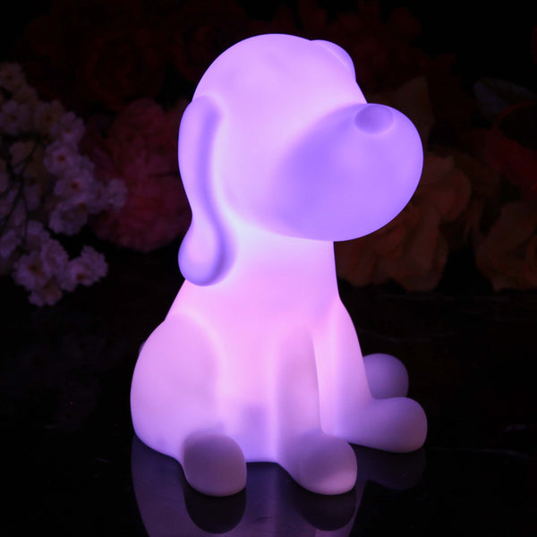 Kids Bedside Night Lamp, Battery Powered Multicolor Dog Sensory Light