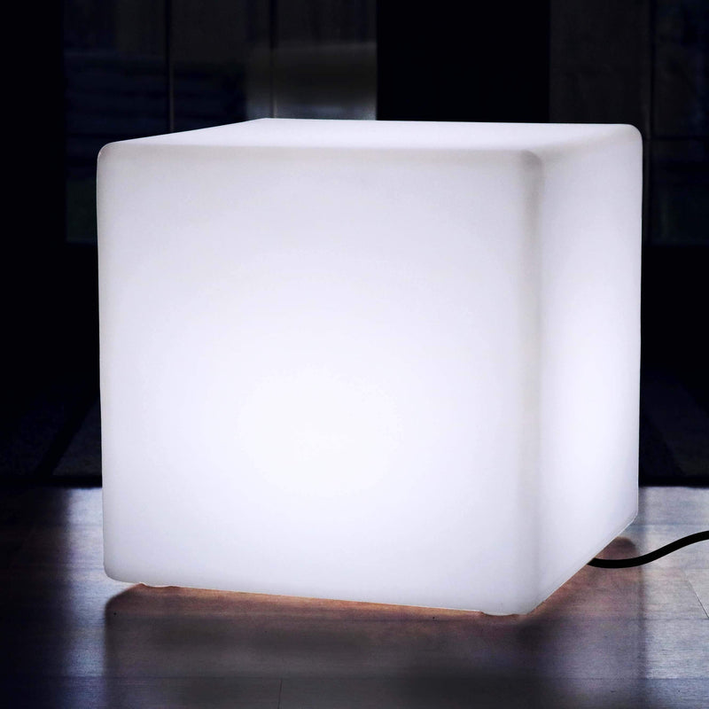 50cm LED Cube Stool Seat, Modern Floor Lamp, Mains Operated, White E27 Bulb Installed
