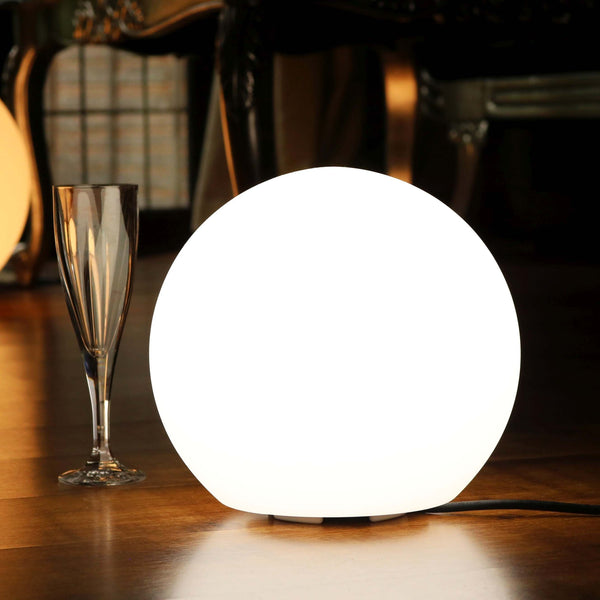Bedside Lamp, Mains Powered 30cm LED Ball, White, E27 Bulb Installed
