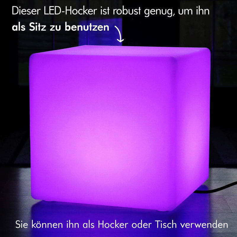 Multi Color LED E27 Cube Stool Floor Lamp, 50cm Illuminated Furniture Seat Table with RGB Remote