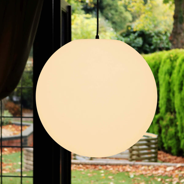 Large Round LED Ceiling Pendant Light, 60cm E27 Globe Orb Hanging Lamp, Warm White E27 Bulb