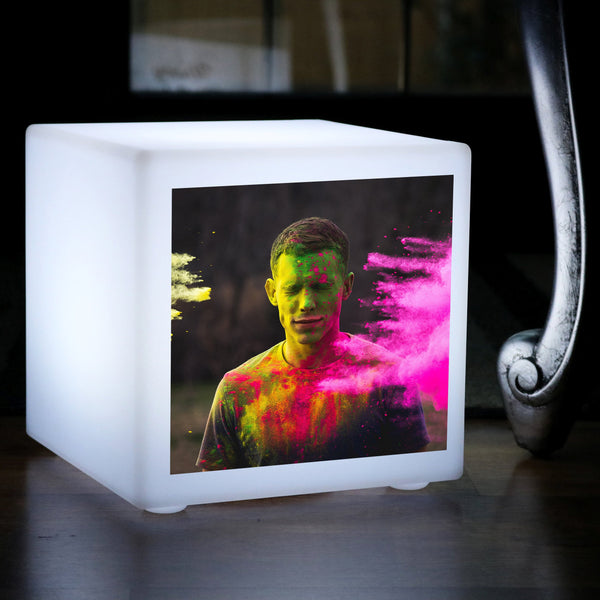 Personalised LED Lightbox Photo Cube, Custom E27 Table Centre Display Lamp, 30 cm