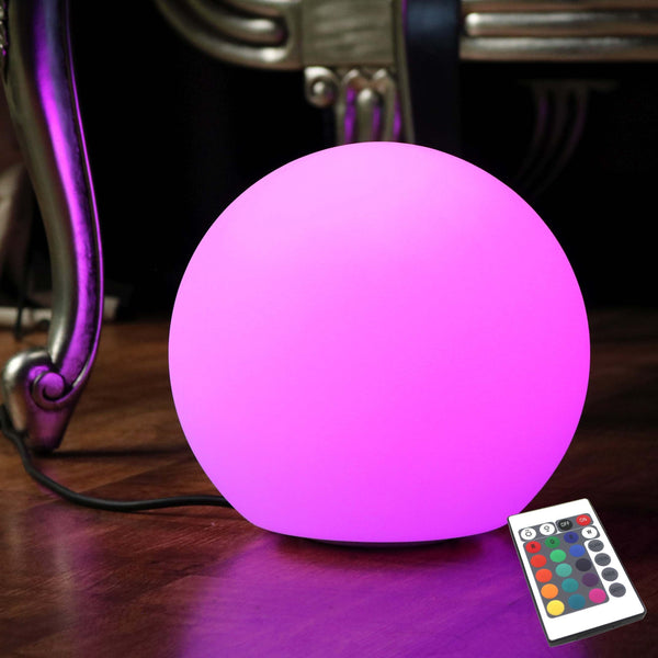 Table Lamp Mains Powered, 30cm Multicolor LED Sphere with Remote