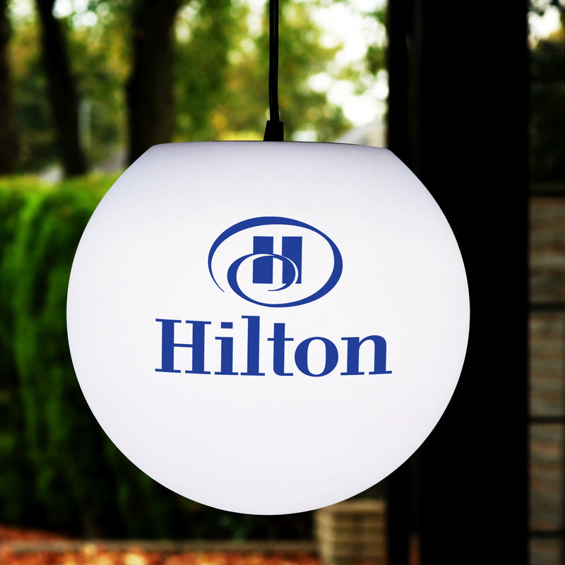 Branded LED Hanging Lightbox Sign, Personalised Pendant Lamp with Logo, 30cm Sphere, E27
