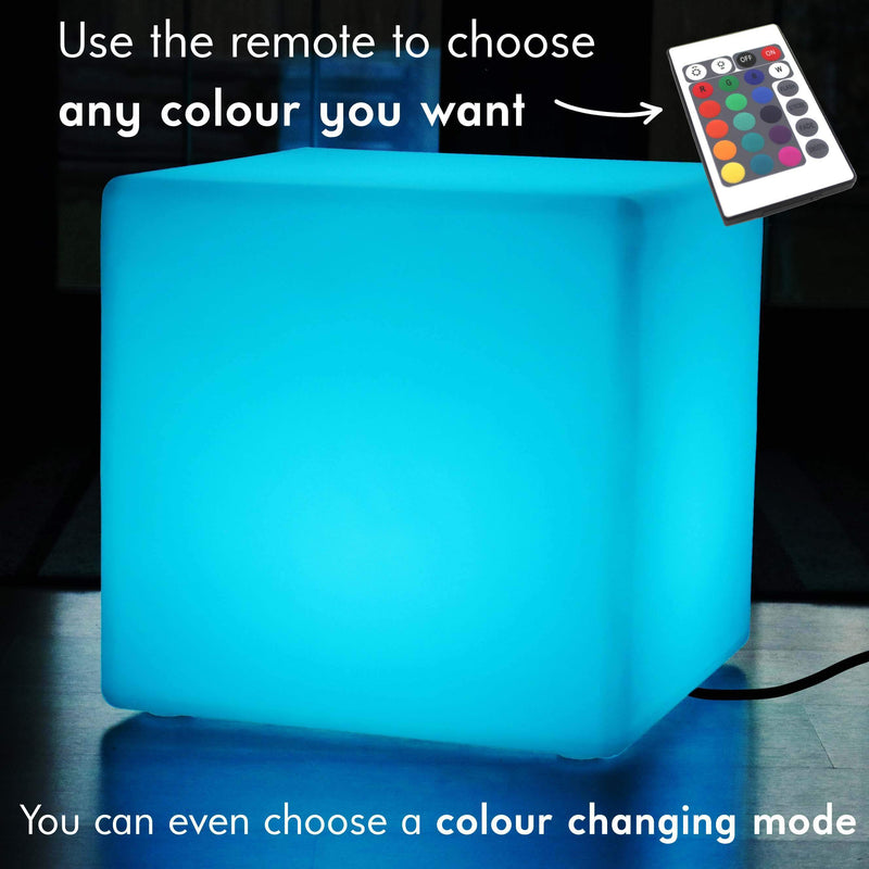 Large 60cm Color Changing LED Cube Stool Floor Lamp, Illuminated Furniture Seat Table RGB