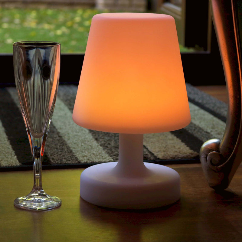 Cordless Bedside LED Table Lamp with Remote, Multicolor, 26cm