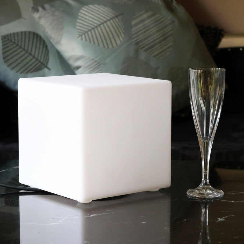 20cm Illuminated Cube, Mains Powered Bedside Lamp, LED E27 Warm White