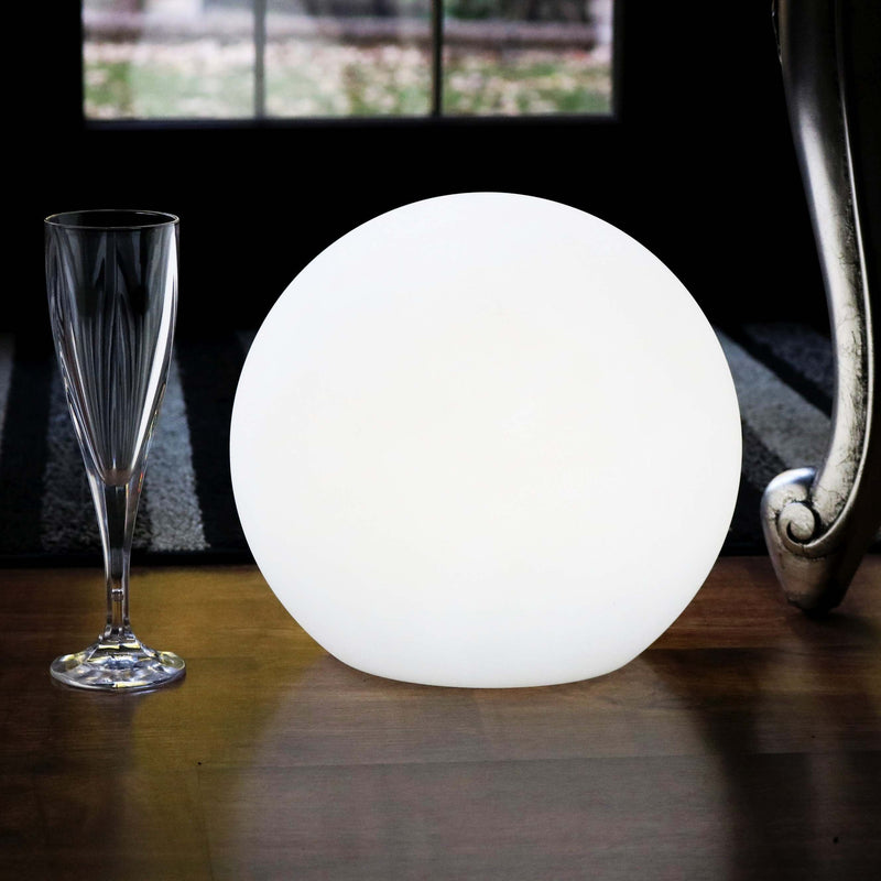 Rechargeable Table Lamp, Dimmable LED Ball with Remote, 25cm