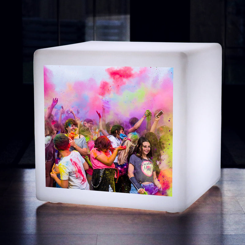 Personalised Backlit Photo Cube Light Box, Customised LED Seat Stool Floor Lamp, 40 cm