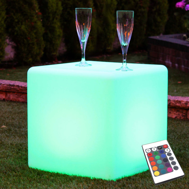 Outdoor LED Cube 40cm, Light Up Stool, Waterproof Garden Floor Lamp